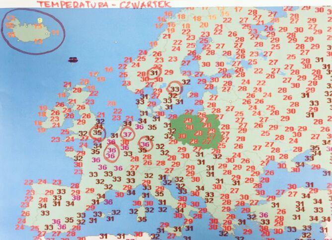 Wartości temperatury w czwartek w Europie