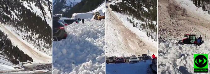 """""""Dwa rzędy aut były zasypane śniegiem"""". Reporter 24 sfilmował lawinę"""