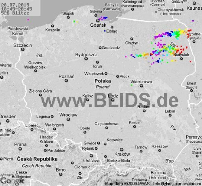 Wyładowania atmosferyczne nad Polską z godziny 18.45 - 20.45
