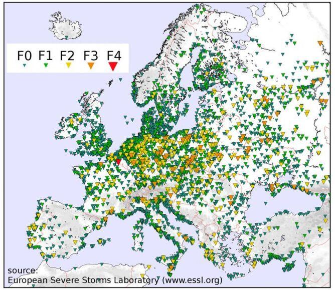 Trąby powietrzne w Europie odnotowane w latach 2000-2012