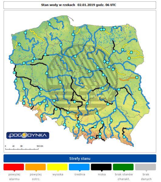 Stan wody w rzekach 2.12 o godzinie 7 (IMGW)