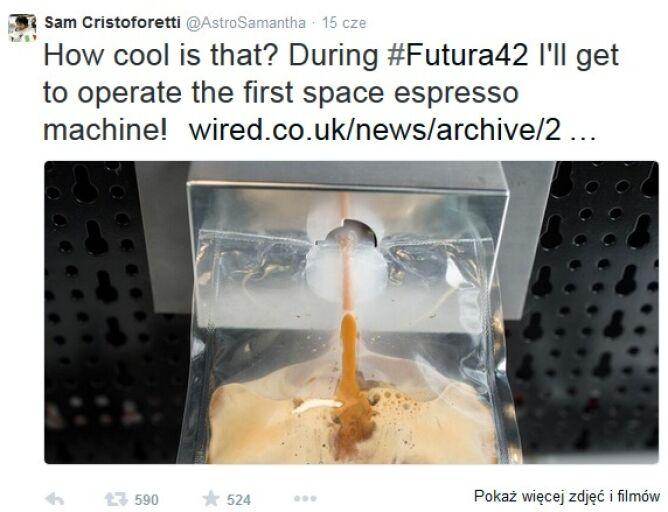 Twitt astronautki Samanthy Cristoforetti